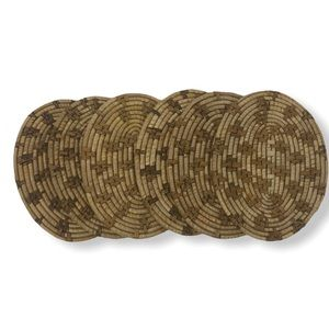 Rattan Oval Boho Small Placemats/Coasters 6 Count
